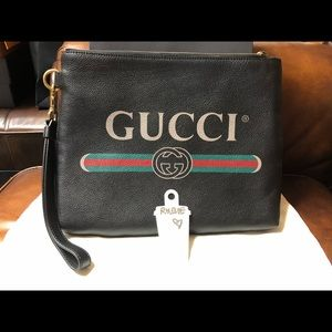 Gucci Pouch Leather Black with Wrist Strap